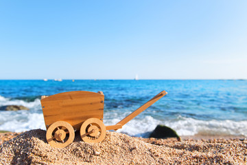 Vintage hand cart at the beach