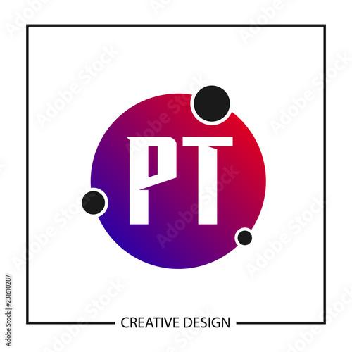 initial letter pt logo template design vector illustration stock
