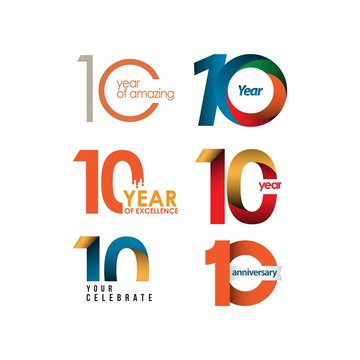 10 Year Anniversary Set Vector Template Design Illustration
