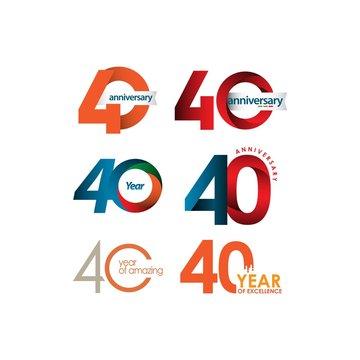 40 Year Anniversary Set Vector Template Design Illustration