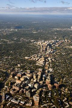 Washington DC suburbs aerial view