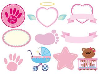Set of pink baby sticker