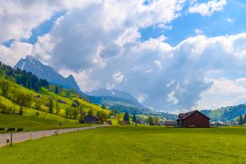 Countryside road in village, Alt Sankt Johann, Sankt Gallen, Swi