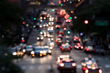 Fotomurales - Abstract blurred lights of evening traffic on 42nd Street in Midtown Manhattan New York City