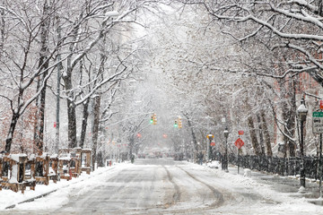 Snow covered street along Washington Square Park after a nor'easter snow storm in New York City
