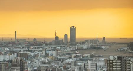 Osaka city view in sunset