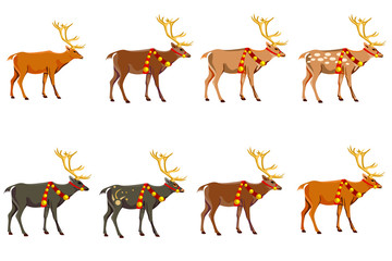 A set of eight deer of different colors.