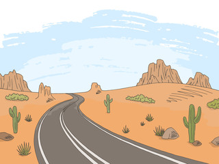 Prairie road graphic color landscape sketch illustration vector