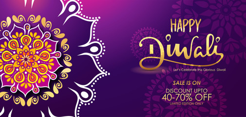 Happy diwali banner, poster with mandala and beautiful background with happy diwali calligraphy
