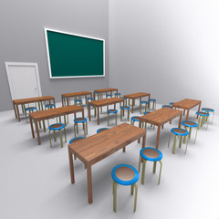 table and chair in room , 3d rendering