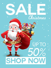 Christmas sale discount offer. Cartoon Santa Claus with huge red bag with presents in snow scene for New Year promotion banners, headers, posters, stickers and labels