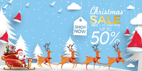 Christmas Sale Season Design Template. Paper art and digital craft style. vector illustration Greeting card, poster, banner, promo, discount offer