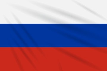 Flag Russia swaying in wind, realistic vector