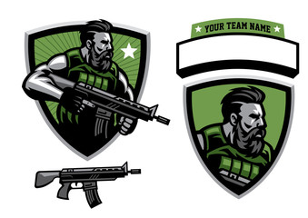 bearded soldier mascot hold assault rifle - fototapety na wymiar