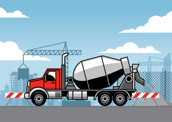 cement truck on truck construction site