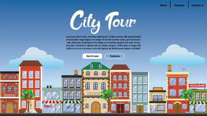 landing page design downtown with flat vector style