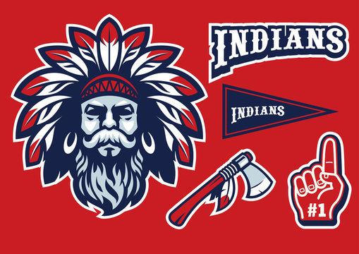 indian chief head mascot in set