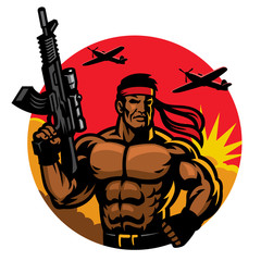 soldier in muscular body mascot
