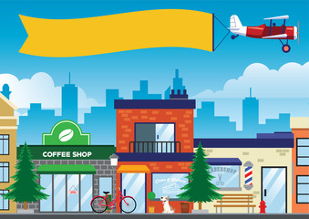street and shop in the city in flat vector style