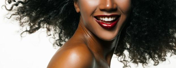 Fashion studio portrait of an extraordinary beautiful african american model
