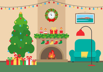 house interior christmas decoration with fireplace armchair  spruce gift boxes wreath