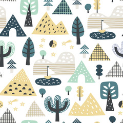Cute seamless mountain pattern. Perfect for kids apparel, fabric, textile, nursery decoration, wrapping paper. Scandinavian style.