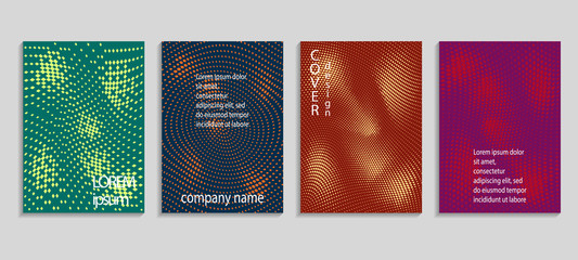 Minimalistic abstract vector halftone cover design template. Future geometric gradient background. Vector templates for placards, banners, flyers, presentations and reports