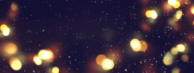 Night Christmas Winter background. Snowfall and lights bokeh space
