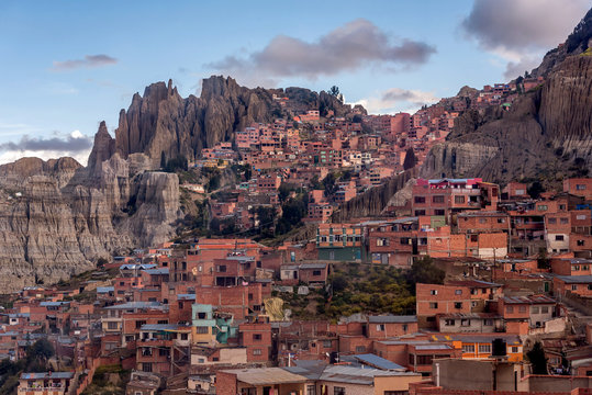 Panoramic view of La Paz slums, Bolivia