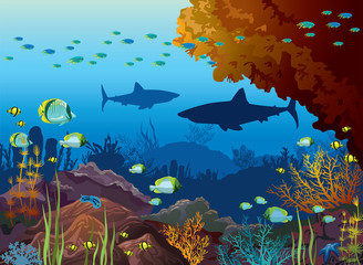 Underwater sea - sharks, coral reef, fish