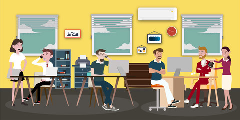 Vector illustration in a flat style of business office team workers women, men and boss in uniform in meeting room with pc laptop and growing chart. They are talking, discuss goal planning and debate.