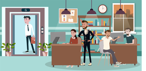 Vector in a flat style of business office team workers women, men and boss in uniform in meeting room, They are talking, discuss goal planning and debate. presentation in shared working environment.