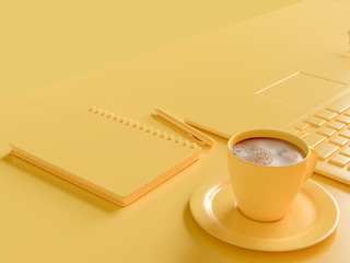 Minimal concept. Coffee milk  in yellow cup on work desk with laptop and notebook. yellow pastel color  3d render.