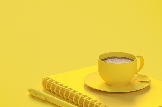Minimal concept, Milk coffee in yellow cup