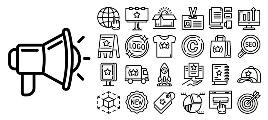 Obraz Brand icon set. Outline set of brand vector icons for web design isolated on white background - fototapety do salonu