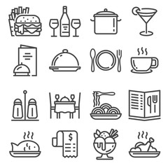 Vector Restaurant icons set on white background.