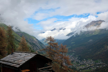 Village of Zermatt panoramic view, valleys and slopes of Swiss Alps