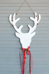 Wall Mural - Deer head on wall. Christmas decoration
