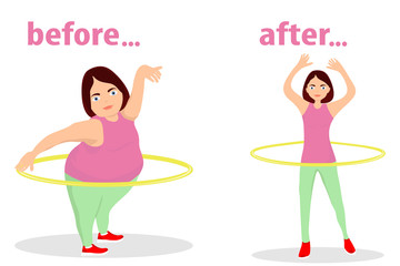 The girl turns the hula hoop for weight loss. The figure of the girl before training and after. The girl is engaged in fitness.