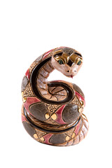 Statuette of a snake on a white background