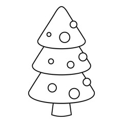 Xmas fir tree icon. Outline xmas fir tree vector icon for web design isolated on white background