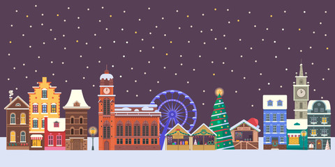 Winter christmas city panorama. Snowy street flat horizontal banner with colorful european houses, cathedrals, Xmas market and New Year decorations. Snow europe town skyline cityscape.