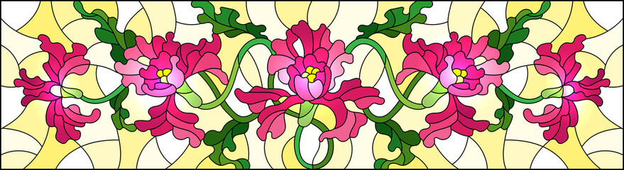 Illustration in stained glass style with flowers and leaves of pink irises flower on yellow background, horizontal image