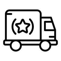 Brand truck icon. Outline brand truck vector icon for web design isolated on white background