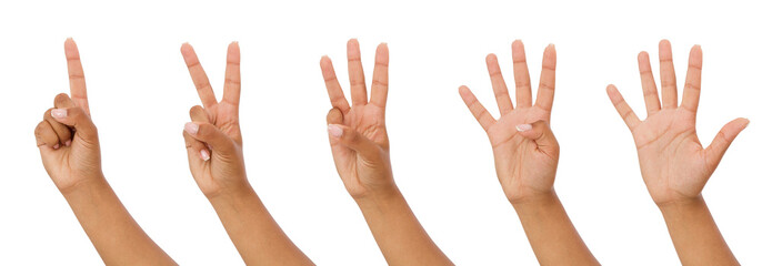 black hand showing one to five fingers count signs isolated on white background with Clipping path included. Communication gestures concept,mock up