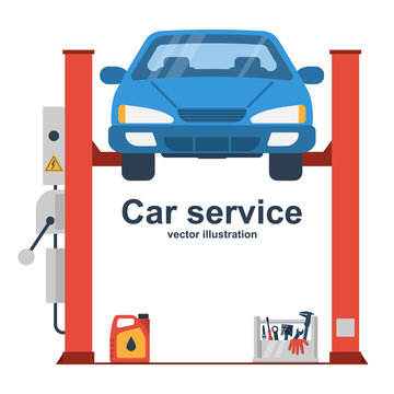 Car liffting. Vehicle repair icon. Sign of service maintenance transport. Vector illustration flat design. Isolated on background. Elevator automobile. Service station. Raise car to top for diagnosis