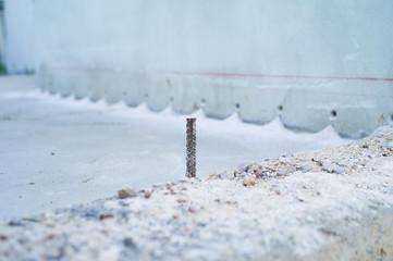 Closeup selective focus picture of steel line for reinforcement concrete structure