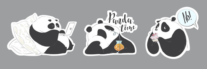 Set of doodle pandas cute cartoon for decoration design. Funny sweet vector steakers bears.