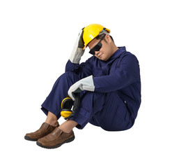 bee8f870935 worker in Mechanic Jumpsuit is Sitting isolated on white background