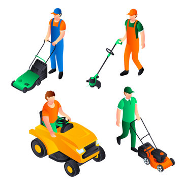 Lawnmower icon set. Isometric set of lawnmower vector icons for web design isolated on white background